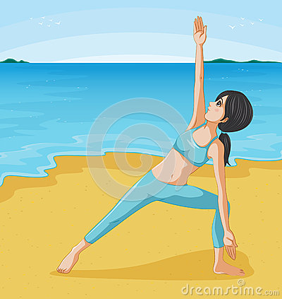 A girl doing her exercise at the seashore