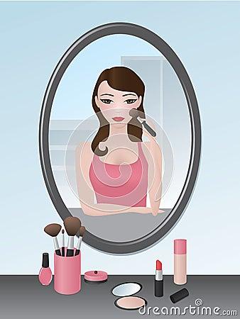 Girl doing her makeup