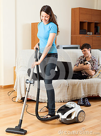Girl doing home cleaning