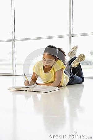 Girl doing homework.