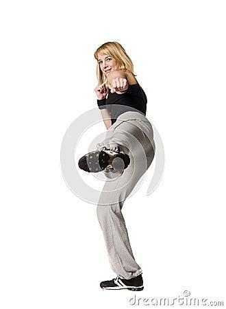 Girl doing a kick