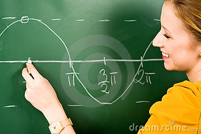 Girl Doing Math on Chalkboard