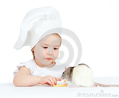 Girl and domestic rat eating healthy food