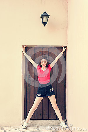 Girl in doorframe