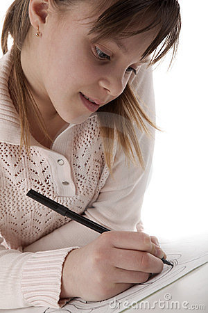 Girl draw a marker