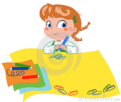 Girl drawing vector