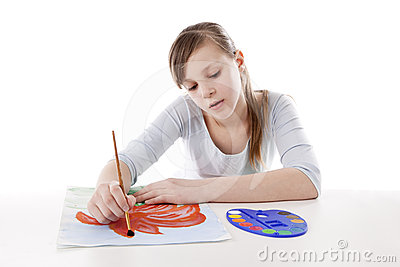 Girl drawing color flower