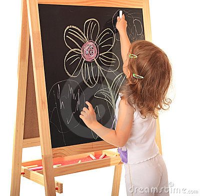 Girl draws