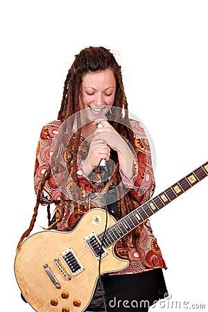 Girl with dreadlocks sing