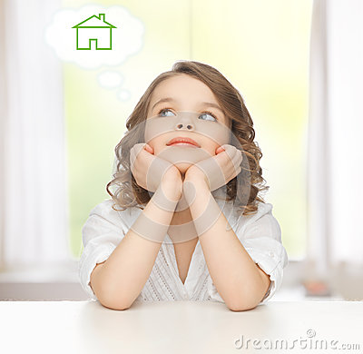 Free Girl Dreaming About The House Stock Images - 37813164
