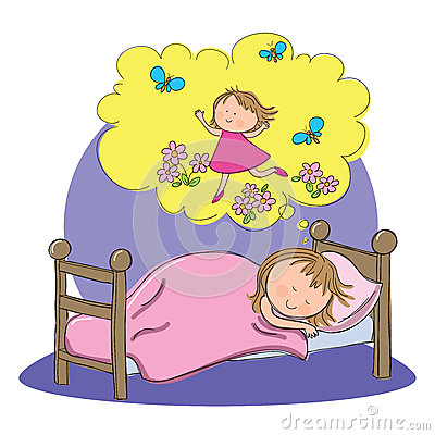 Child dreaming cartoon