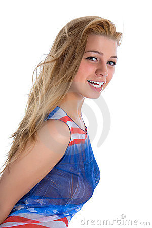 Girl in  dress from the American flag