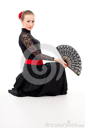 Girl in a dress with a Fan and Carmen
