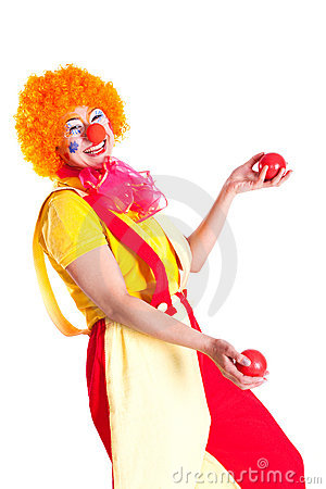 Free Girl Dressed As A Clown Juggling Stock Image - 18969741