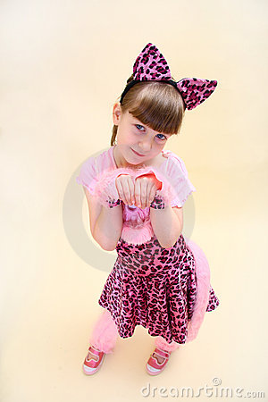 Girl dressed as pink cat