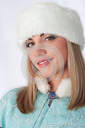 Girl dressed as Russian Santa Claus