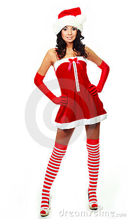 Girl dressed as Santa