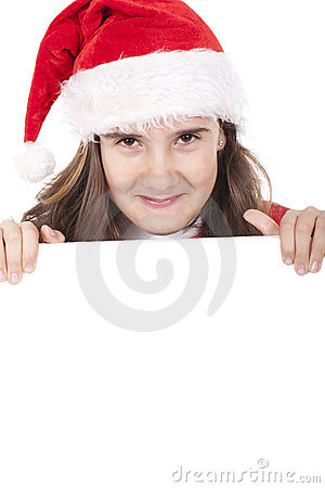 Girl dressed as santa claus holds blank sign