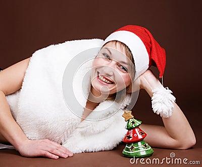 Girl dressed like Santa