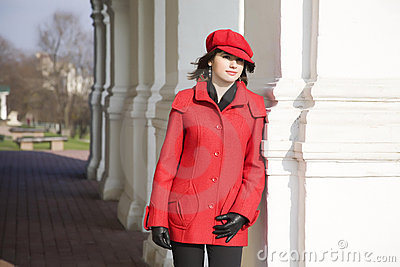 Girl Dressed In Red Coat