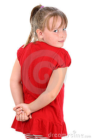 Girl dressed in red looking over shoulder isolated