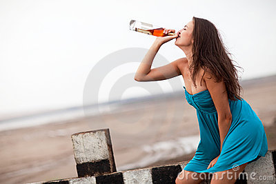Girl drinking alcohol