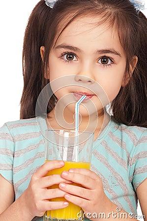 Free Girl Drinking Juice Royalty Free Stock Photo - 18289405