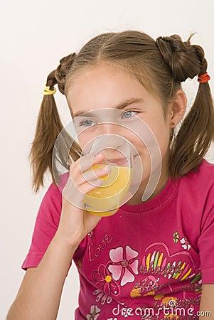 Girl drinking orange juice I