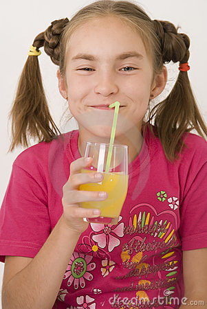 Girl drinking orange juice II