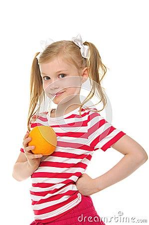 Free Girl Drinking Orange Juice Through Straw Royalty Free Stock Images - 19876099