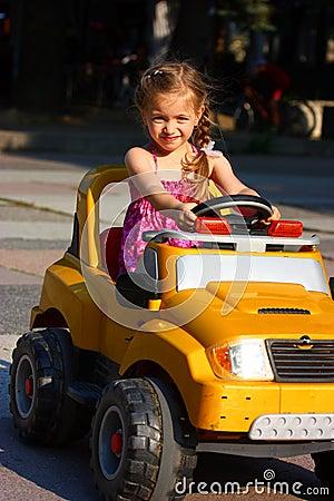 A girl drivin