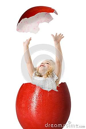 Girl in a easter egg