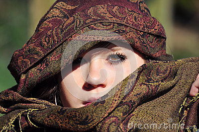 Girl with eastern headscarf