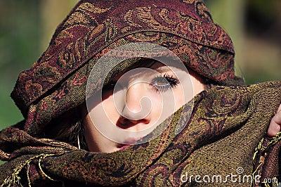 Girl with eastern headscarf