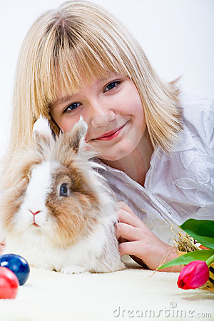 Girl and eastern rabbit