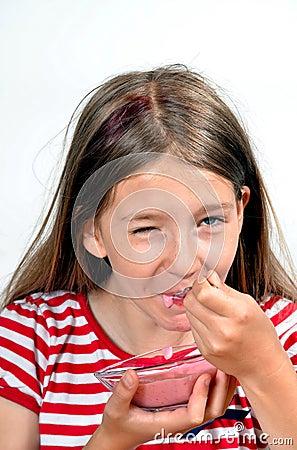 Girl Eat yogurt cheese