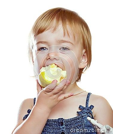 Girl eating the apple
