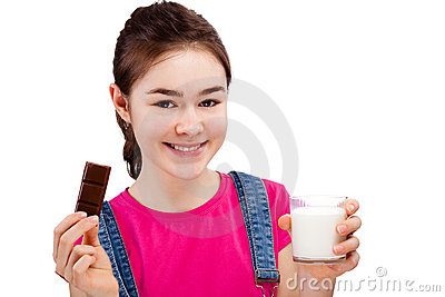 Girl eating bar of chocolate