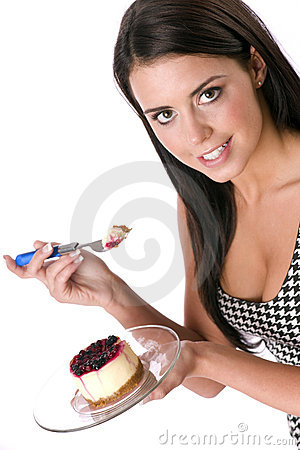 Free Girl Eating Berry Topped Cheesecake Sweet Dessert Stock Images - 20200524