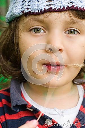 Girl eating blueberries