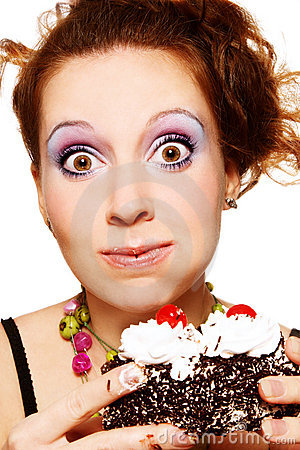 Free Girl Eating Cake Royalty Free Stock Images - 14905789