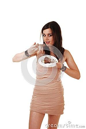 Girl eating cake.