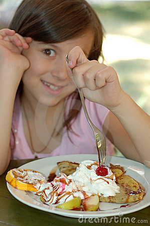 Girl Eating Chocolate pancake