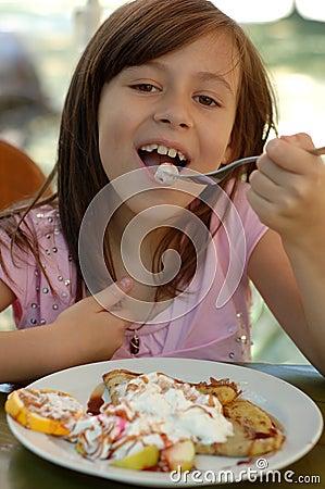 Girl Eating Chocolate pancake