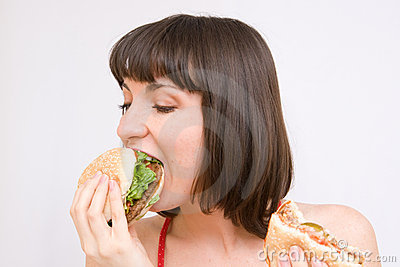 Girl eating hamburgers