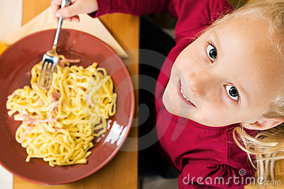 Girl eating lunch or dinner