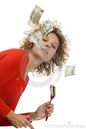 Girl eating money