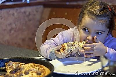 Girl eating pizza in restaurant