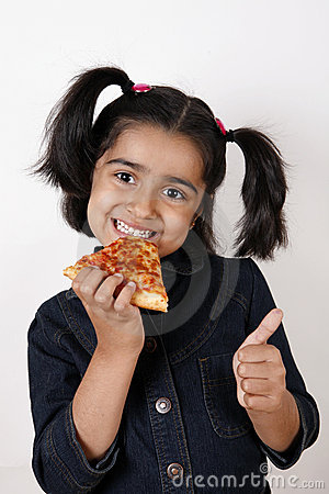 Girl eating pizza slice