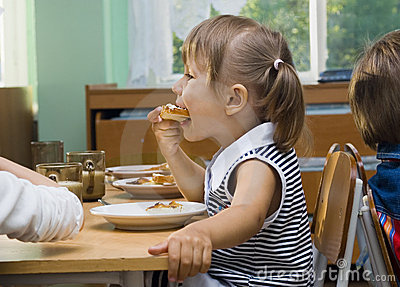 Girl eats